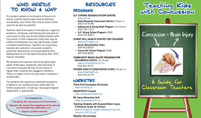 GF Strong Teaching Youth Concussion Brochure screenshot
