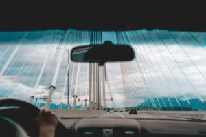 driving across bridge