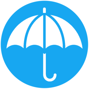 umbrella in circle icon