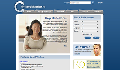 Find a Social Worker screenshot
