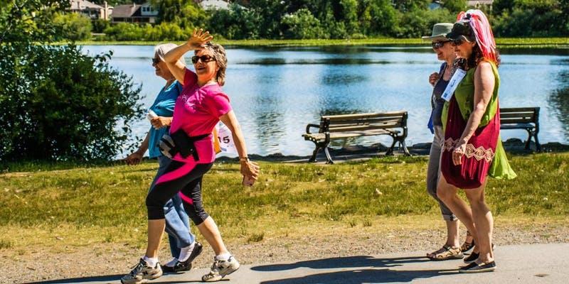 women walking in a park